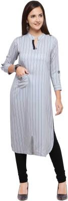Envy 9 Casual Striped Women Kurti(White)