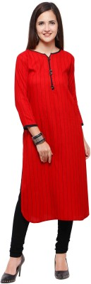 Envy9 Casual Striped Women Kurti(Red)