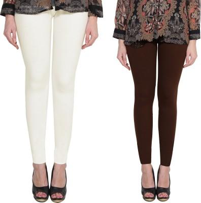 Aditi Fashion Ankle Length  Legging(White, Brown, Solid)