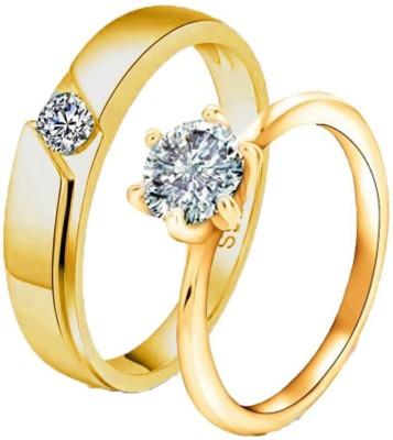 MYKI King & Queen Sterling Silver Swarovski Zirconia Adjustable Couple Rings Sterling Silver Swarovski Zirconia 24K White Gold Plated Ring Set
