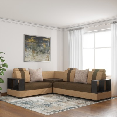 Sofame Oxford Corne Fabric 5 Seater Sofa(Finish Color - Brown)