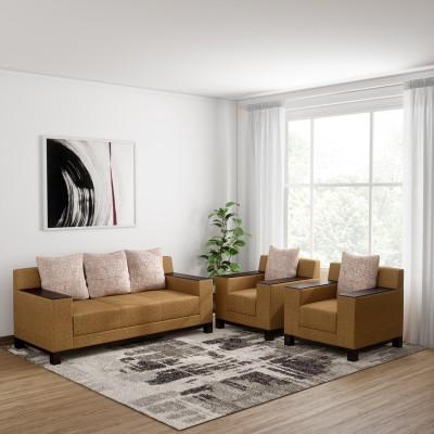 Bharat Lifestyle Gayana Leatherette 3 + 1 + 1 Brown Sofa Set