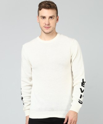 Levi's Woven Round Neck Casual Men White Sweater at flipkart