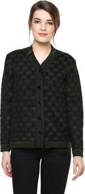 Modeve Embroidered V-neck Casual Women Dark Green, Black Sweater