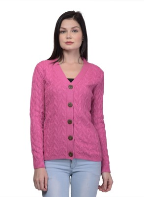 Kalt Self Design V Neck Casual Women Pink Sweater