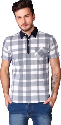 Le Bourgeois Checkered Men Polo Neck Multicolor T-Shirt