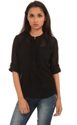 Harbinger Designs Casual Roll up Sleeve Solid Women Black Top