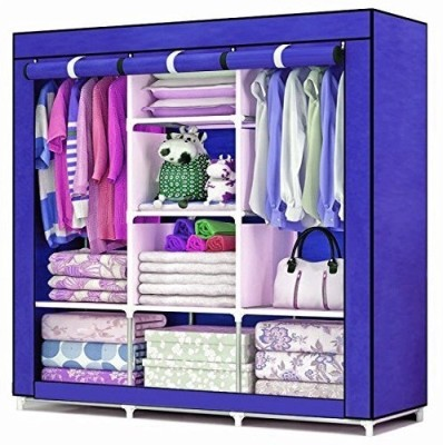 Aventure Clothes A3 Storage Closet Seasonal PP Collapsible Wardrobe(Finish Color - Blue)