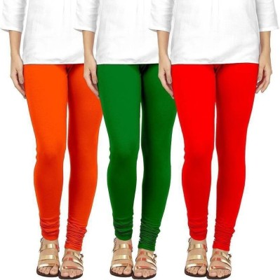 CN FASHION Churidar  Legging(Orange, Green, Red, Solid)