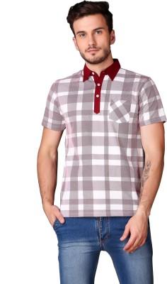Le Bourgeois Checkered Men Polo Neck Maroon T-Shirt