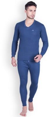Lux Cottswool Blue Full Sleeves V-Neck Trouser Set Men Top - Pyjama Set Thermal