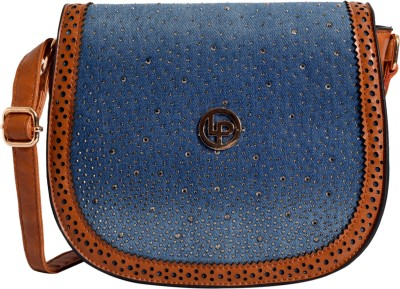 Lino Perros Women Tan, Blue Sling Bag at flipkart