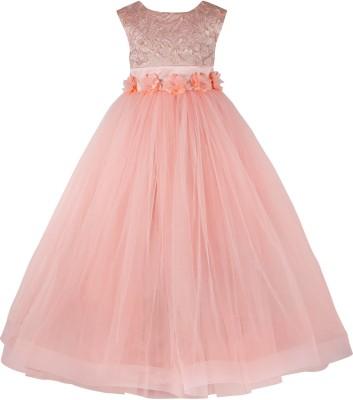 Toy Balloon Kids Girls Maxi/Full Length Party Dress(Orange, Sleeveless)