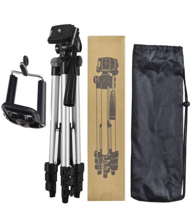 BUY SURETY Best Buy New Arrival Portable DSLR, Cmera mobile holder with long adjustable stand Nad flexible Clip and Aluminium Body Lightweight Tripod(Silver & Black, Supports Up to 1500)