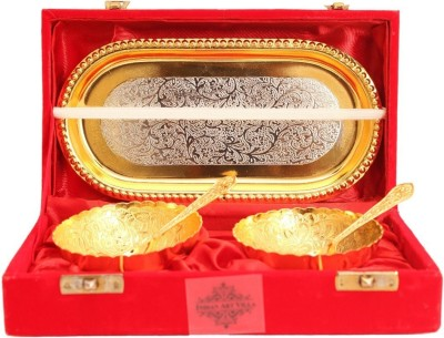 IndianArtVilla Set of Gold Silver Plated 2 Bowl 2 Spoons 1 Tray ,Beautiful Gift Pack,Diwali Gift Item Silver Plated Bowl Set(Gold, Silver, Pack of 5) at flipkart