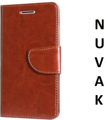 Nuvak Flip Cover for Lava Z61(Brown, Dual Protection)