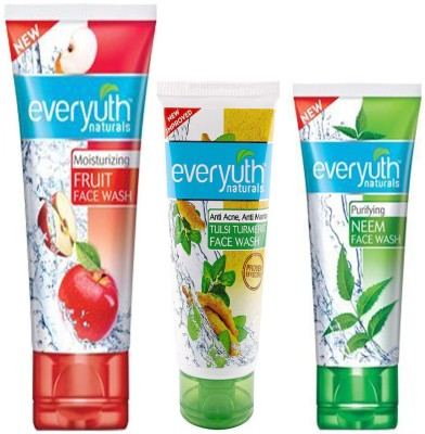 Everyuth Naturals FRUIT FACE WASH 100g, TULSI TURMERIC 50g & NEEM 50g Face Wash(200 g)