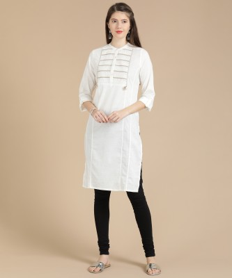 W Women Embroidered Straight Kurta(White) at flipkart
