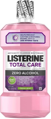 Listerine Total Care Alcohol-Free Anticavity Mouthwash, 6 Benefit Fluoride Mouthwash for Bad Breath and Enamel Strength, Fresh Mint Flavor, 1 L (Pack of 2) - Fresh Mint(1 L)