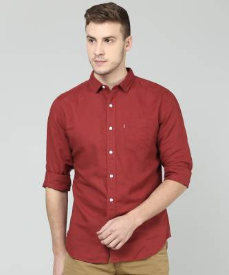 Levi's Men's Solid Casual Red Shirt