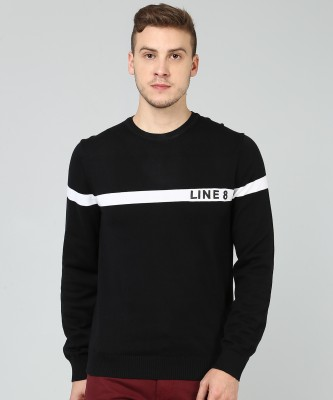 Levi's Woven Round Neck Casual Men Black Sweater at flipkart