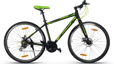 Frog Stinger Dual Disc Brake Bike For Adults Black & Green 700C T Hybrid Cycle/City Bike(21 Gear, Multicolor)