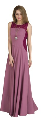 Raas Pret Women Fit and Flare Purple Dress