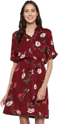 MIAMINX Women Shift Maroon Dress