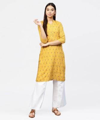 Jaipur Kurti Women Floral Print Straight Kurta(Grey)