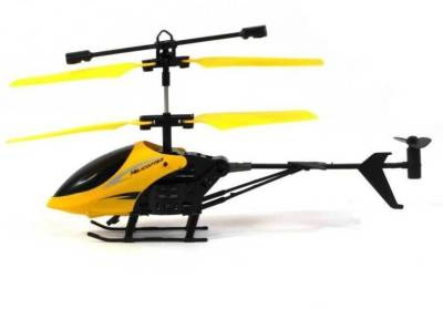 ExaltedCollection Induction Type 2-in-1 Flying Indoor Helicopter with Remote(Yellow)