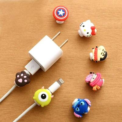 ARYSHAA Lovely Cartoon Character Charger Cable Protective Case Saver (Pack of 7Pcs) Cable Drop Clip
