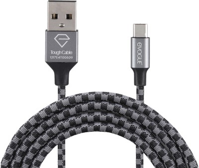 eVOGUE 6ft/1.8m Long Nylon Fabric Braided Tough Charging 1.8 m USB Type C Cable Compatible with All Phones With Type C port, Type c data cables, Black