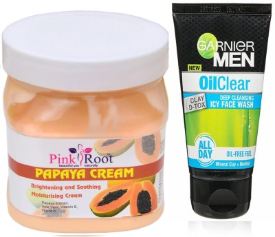 Pink Root Papaya Cream 500g WITH Oil Clear Facewash(Set of 2)