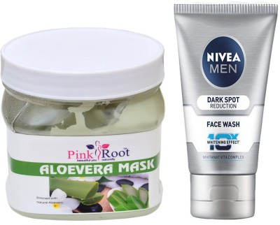 Pink Root Aloevera Mask 500ml WITH Men Dark Spot Reduction Face Wash(Set of 2)