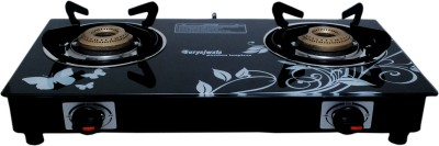 Suryajwala Toughened Glass (For Domestic LPG Cylinder only) Steel Automatic Gas Stove(2 Burners)
