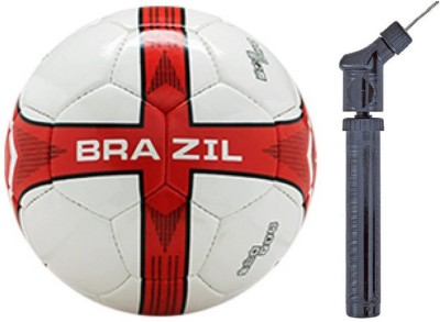 Cosco Brazil With Double Action Pump Football   Size: 5 Pack of 2, Red, White Cosco Footballs