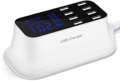 TOBO 8-Port USB Hub Charging Stations USB Charger Plug, Multi Desktop Wall Charger travel socket adapter with LCD display Mobile Charger(White)