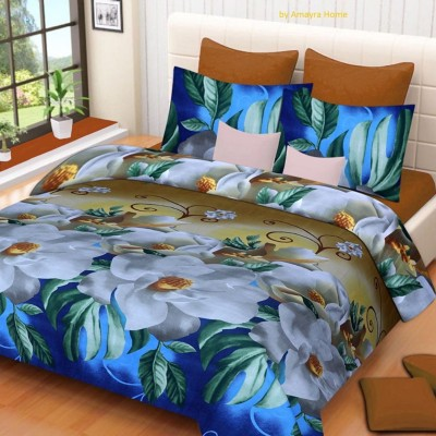 Gold 130 TC Polycotton Double Floral Bedsheet(Pack of 1, Blue)
