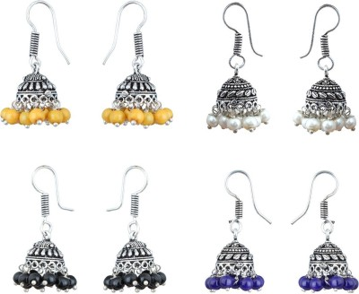 Waama Jewels Combo Of Four Silver Plated Multi Color Jhumki Traditional Imitatiion Fashion Jewellery For Women and Girl Pearl Brass Jhumki Earring Waa