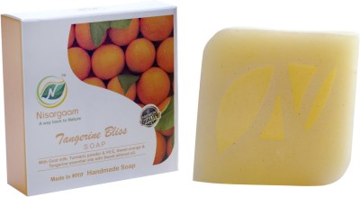 Nisargaam Pyramid Charged Handmade Premium Tangerine Bliss Soaps , containing Essential Oils(4 x 100 g)