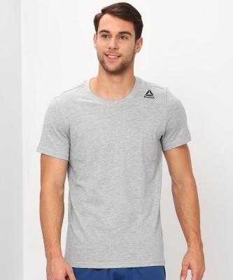 REEBOK Solid Men Round Neck Grey T-Shirt