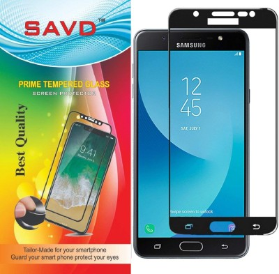 SAVD Tempered Glass Guard for SAVD 3D Premium Edge to Edge Full Glue Full Front Body Cover Tempered Full Glass Screen Protector Guard for Samsung Galaxy J7 Max - Pure Black(Pack of 1)