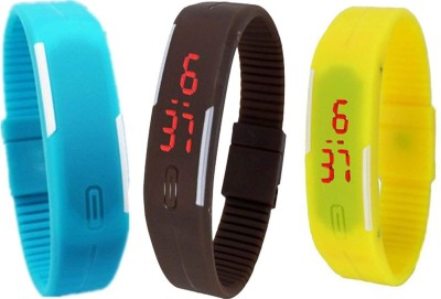 LUKME DIGITAL SKY BLUE, BLACK & YELLOW UNISEX CILICONE BAND COMBO PACK OF 3 Watch  - For Men & Women