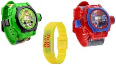 TimE GP Beautiful Combo Ben 10 & Spider-Man Projector GD,0-66 Kids Watch - For Boys & Girls SPORT Watch  - For Boys & Girls