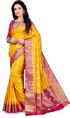 M.S.Retail Self Design Kanjivaram Poly Silk Saree(Yellow) at flipkart