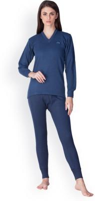 Lux Cottswool Lux Cottswool Women Blue Full Sleeves V-Neck Trouser Set Men Top - Pyjama Set Thermal