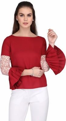 Eavan Casual Bell Sleeve Solid Women Maroon Top