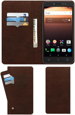 ACM Flip Cover for Alcatel A3 Xl Rich Brown, Cases with Holder, Artificial Leather