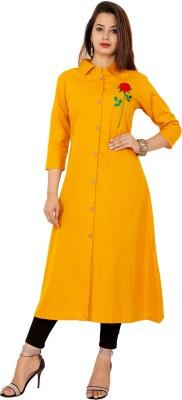 Glorious Women Solid Straight Kurta(Yellow)