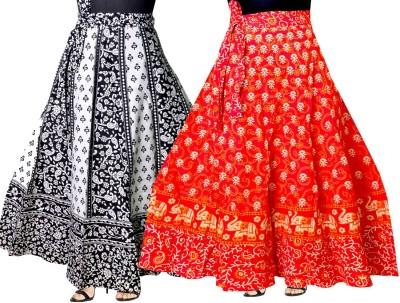 JWF Printed Women Wrap Around Black, Red Skirt